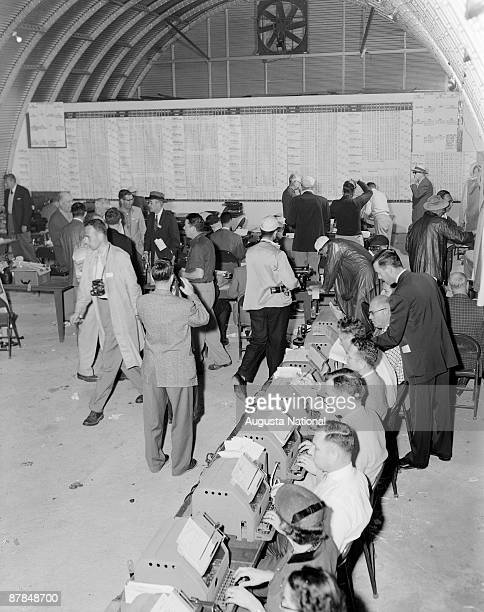 Media work in the Western Union Press Tent during the 1955 Masters Tournament at Augusta National Golf Club on April 10 1955 in Augusta Georgia