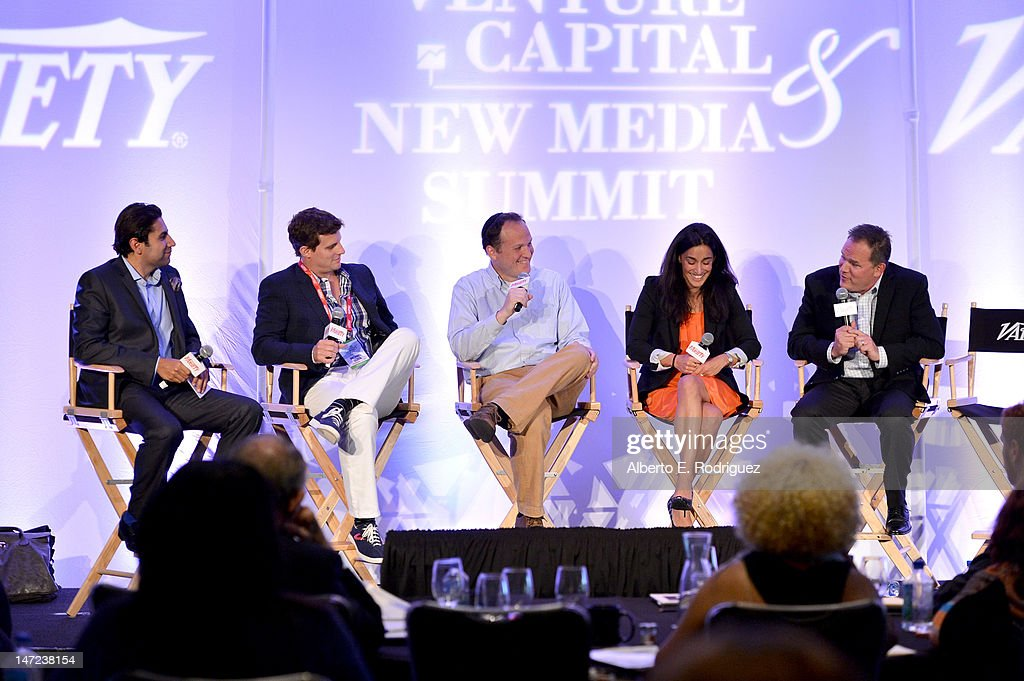 MediaLink managing partner Xavier Kochhar, DollarShaveClub.com founder & CEO Michael Dubin, Quantifind Inc. CEO and co-founder Ari Tuchman, ShoeDazzle chief product officer Geraldine Martin-Coppola, and Andreessen Horowitz partner Todd Lutwak speak during Variety's Venture Capital & New Media Summit in association with International ESQ at Sofitel Hotel on June 27, 2012 in Los Angeles, California.