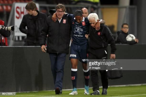 medic Ber Huijnen of MVV Shermaine Martina of MVV Maastricht caretaker Sef Hoenjet of MVV during the Jupiler league match between Jong FC Utrecht and...