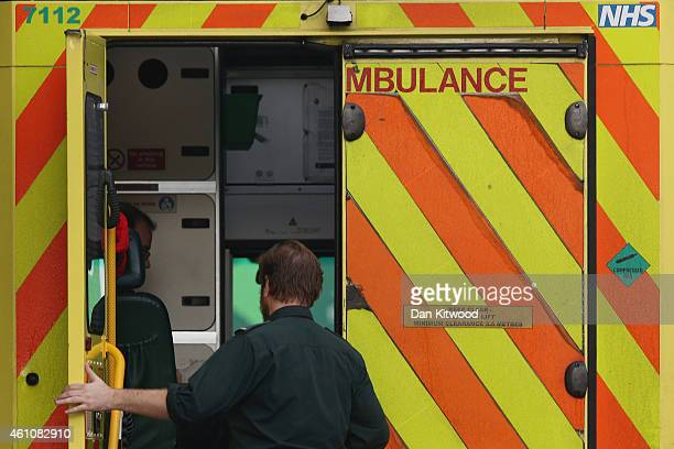 A medic opens an ambulance door outside the Accident and Emergency ward at St Thomas' Hospital on January 6 2015 in London United Kingdom Figures...