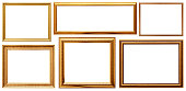 A set of golden frame. Wood frame simple design.