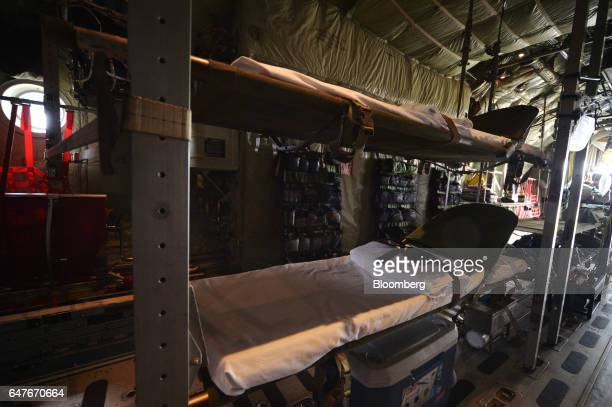 Medical beds are displayed onboard an Australian Defence Force C130J Super Hercules turboprop military transport aircraft manufactured by Lockheed...