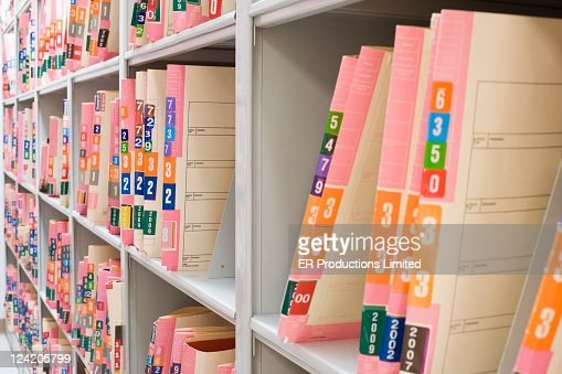 Medical Charts On Shelf In File Room Stock Photo  Getty Images