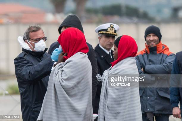 PORT CORIGLIANO CALABRIA ITALY A medical check during the landing from the vessel Vos Hestia of Save The Children in the port of Corigliano Calabria...