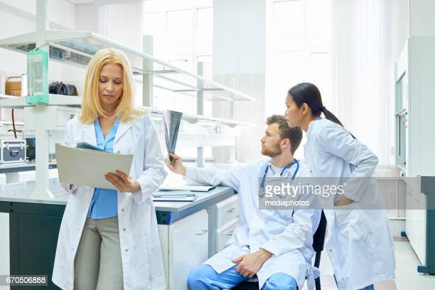 Medical colleagues in laboratory