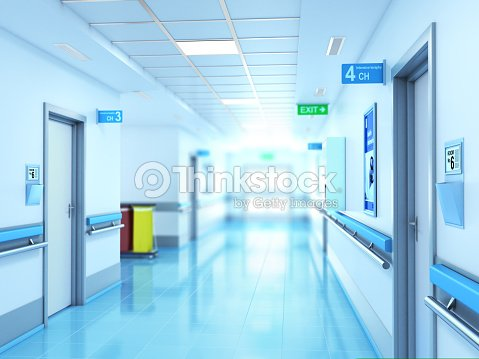 Medical concept. Hospital corridor with rooms. : Stock Photo