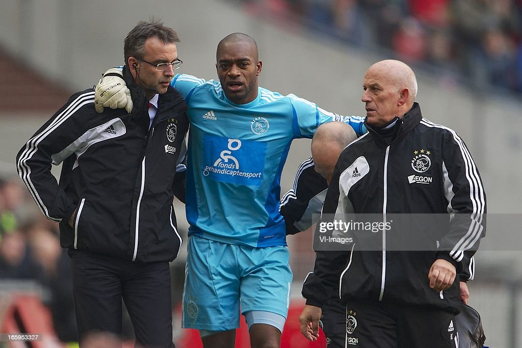 medical doctor team physical performance Don Winter of Ajax, goalkeeper Kenneth Vermeer of Ajax, masseur Rob Koster of Ajax during the Dutch Eredivisie match between Ajax Amsterdam and Heracles Almelo at the Amsterdam Arena on April 7, 2013 in Amsterdam, The Netherlands.