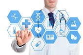 Medical doctor touching virtual interface button of healthcare application, concept about health technology, isolated on white background