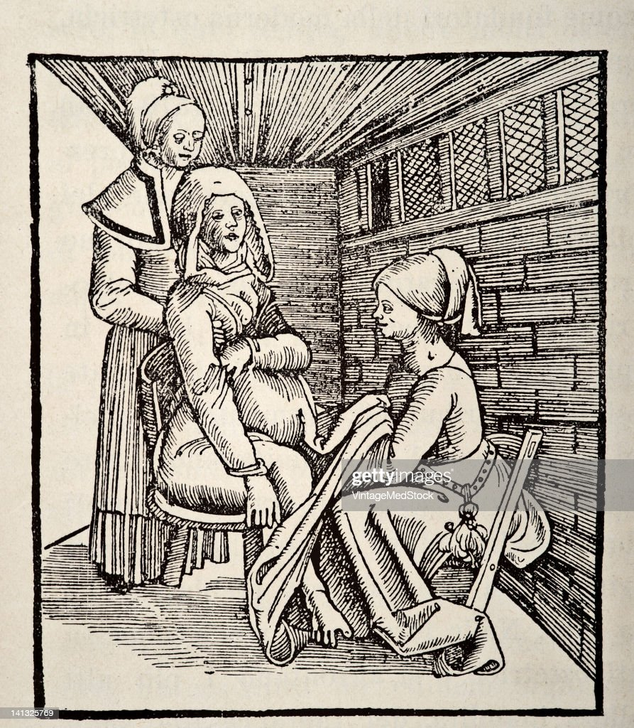 A medical drawing from 'The Court Midwife' illustrates birth 1860
