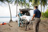 Medical emergency on a tropical beach