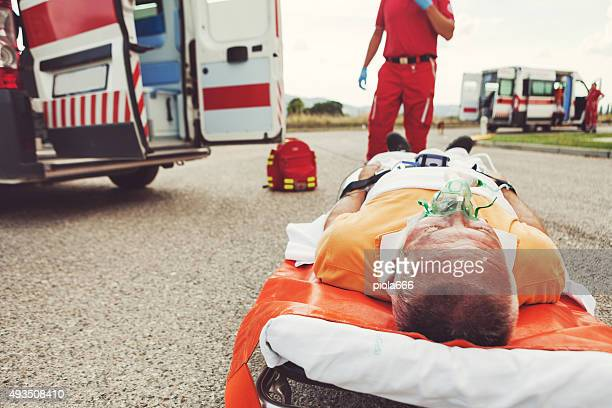 Medical emergency team first aid at accident