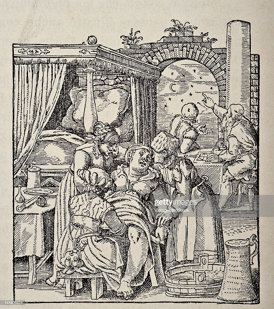 A medical engraving from 'De conceptu et generatione hominis' illustrates a female in labor and midwives assisting the birth 1587