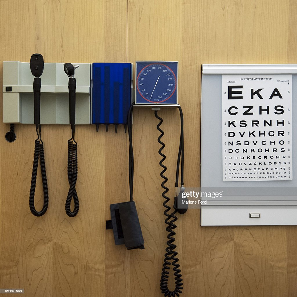 Medical equipment and eye chart : Stock Photo