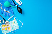 Medical equipment on blue background