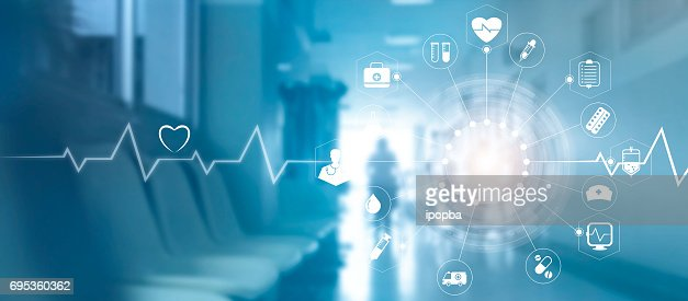 Medical icon network connection with modern virtual screen interface on hospital background, medicine technology network concept : Stock Photo