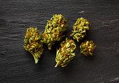 Medical marijuana on table