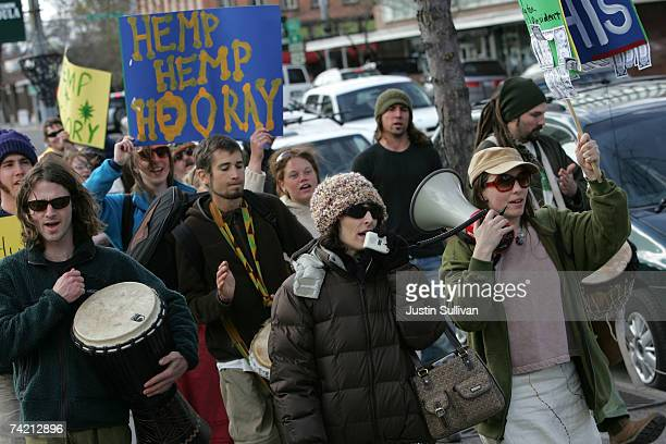 Medical marijuana user Angel Raich marches with medical marijuana advocates during a marijuana rights demonstration April 20 2007 in Missoula Montana...