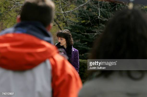 Medical marijuana user Angel Raich pauses as she speaks to student at the University of Montana during a marijuana rights demonstration April 20 2007...