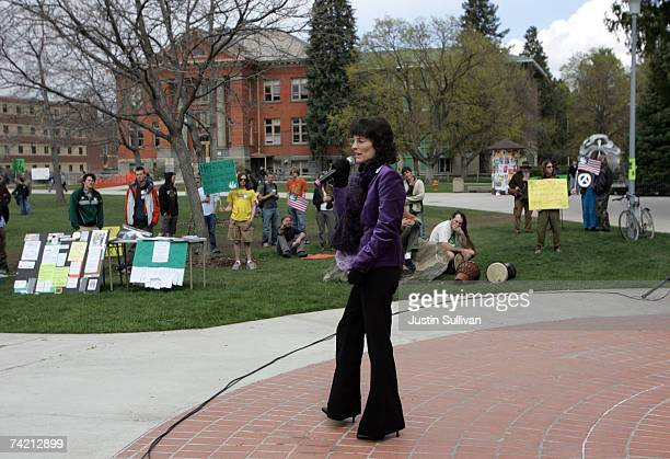 Medical marijuana user Angel Raich speaks to students at the University of Montana during a marijuana rights demonstration April 20 2007 in Missoula...