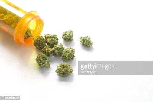 medical marijuana with prescription bottle : Stock Photo