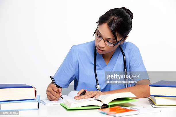Medical nurse studying for her exams