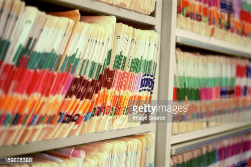 Medical office with shelves of files