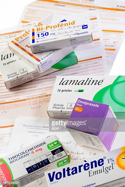 Medical Prescription Medical Insurance Form Doctor And Paramedic And Drugs To Cure Back Pains Profenid Intramuscular Injectable Solution Ketoprofen...