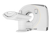3D render of the latest design CT medical scanner.