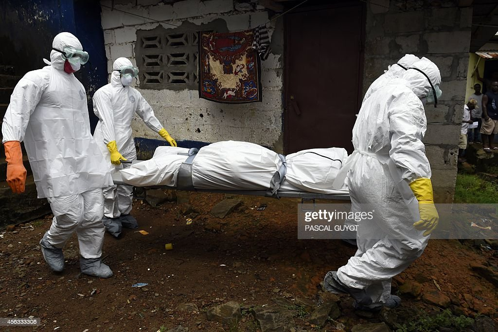 Medical staff members of the Croix Rouge NGO carry on a stretcher the corpse of a victim of Ebola from a house in Monrovia on September 29 2014 Of...