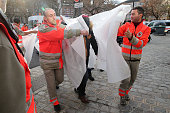 Medical staff transfer people to local hospital from the site of this morning's police raid on November 18 2015 in SaintDenis France French Police...