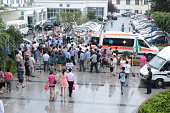 Medical staff transfer the injured to Suzhou and Wuxi at the First People's Hospital of Kunshan on August 2 2014 in Kunshan Jiangsu Province of China...