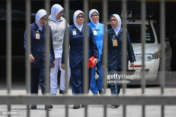 Medical staff walk inside the forensics wing of the Hospital Kuala Lumpur where the body of Kim JongNam is being held in Kuala Lumpur on March 17...