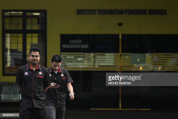 Medical staff walk inside the forensics wing of the Hospital Kuala Lumpur where the body of Kim JongNam halfbrother of North Korea's leader Kim...