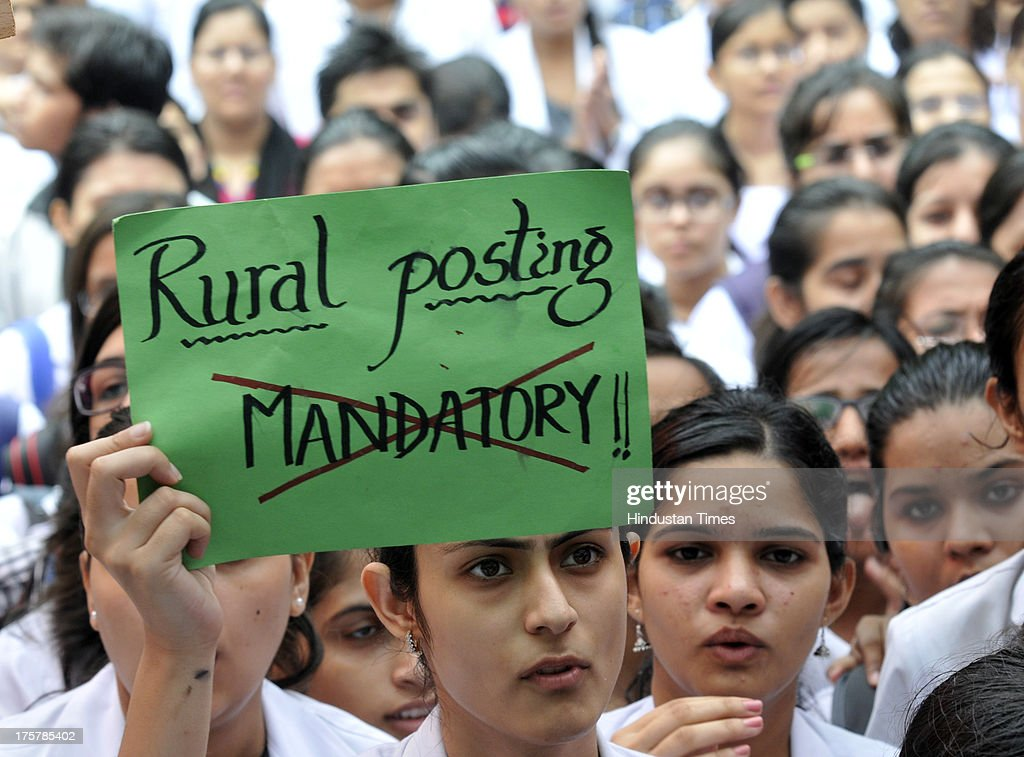 Medical students and doctors demonstrate during Save the Doctor campaign under the aegis of the Indian Medical Association and the Association of Healthcare Providers India at Jantar Mantar on August 8, 2013 in New Delhi, India. The doctors are protesting against the government's decision to make one year rural posting compulsory for medicos applying for post-graduation entrance exams.