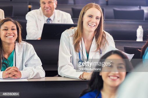 Medical students attending healthcare conference or lecture : Stock Photo
