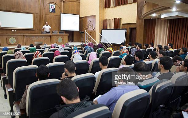 Medical students pictured in a lecture hall at the AlAzhar University on November 06 2013 in Gaza City The Palestinian Territories