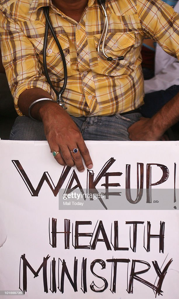 Medical students protesting against the Central Government at Safdarjung Hospital in New Delhi on June 1, 2010.