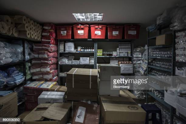 Medical supplies sit in a storage room in the children's unit of the Luis Razetti University Hospital in Barcelona Venezuela on Wednesday Aug 23 2017...