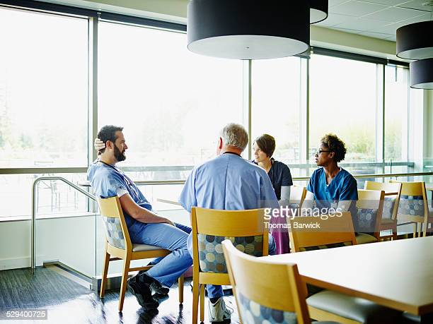 Medical team in hospital employee lounge
