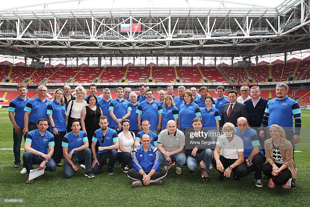 FIFA medical team pose after the Football Emergency Workshop at Spartak Stadium on May 27, 2016 in Moscow, Russia.