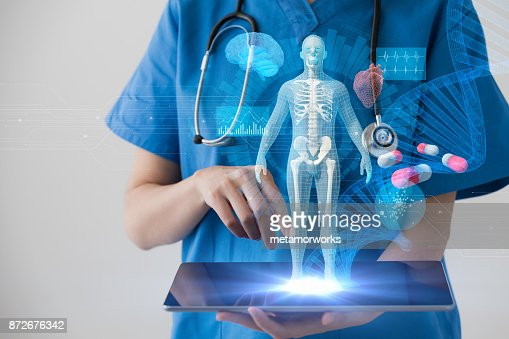 Medical technology concept. Electronic medical record. : Stock Photo