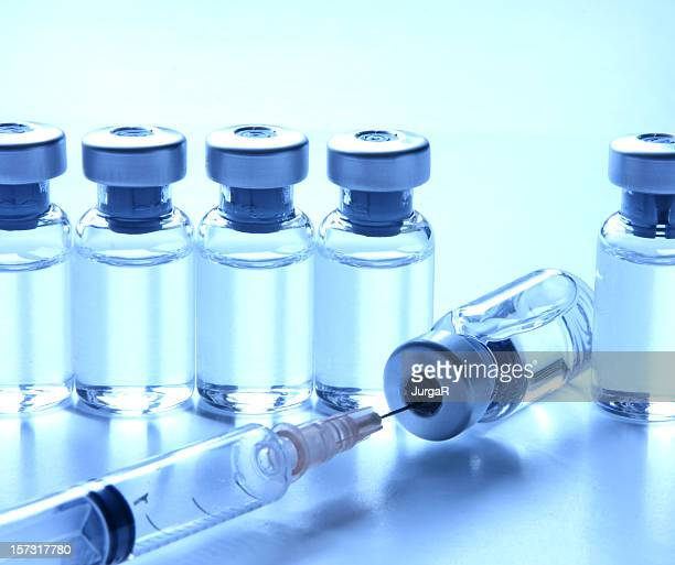 Medical Vials and Syringe for Medicine or Vaccination Concepts