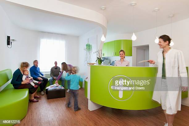 Medical waiting room and reception desk