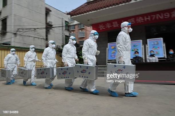 Medical workers take part in a drill that simulates human infection of the H7N9 bird flu virus on April 9 2013 in Hefei China Four new H7N9 avian...