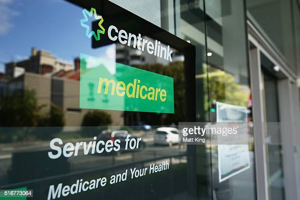 Medicare and Centrelink office sign is seen at Bondi Junction on March 21 2016 in Sydney Australia Federal public sector workers are expected to...