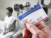 Medicare Health Insurance Card in medical office ++background photo of woman is from my approved file Stock photo ID:474457398++mode release with initial upload++