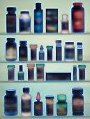 Medicine bottles in cabinet