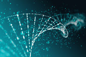Abstract blue DNA background. Medicine concept. 3D Rendering