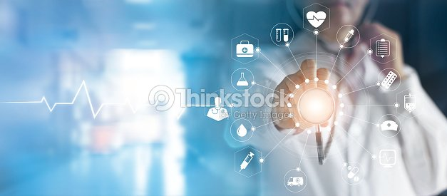 Medicine doctor and stethoscope in hand touching icon medical network connection with modern virtual screen interface, medical technology network concept : Stock Photo
