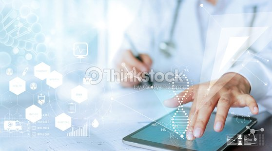 Medicine doctor hand touching computer interface as medical network connection with modern virtual screen, medical technology network concept : Stock Photo